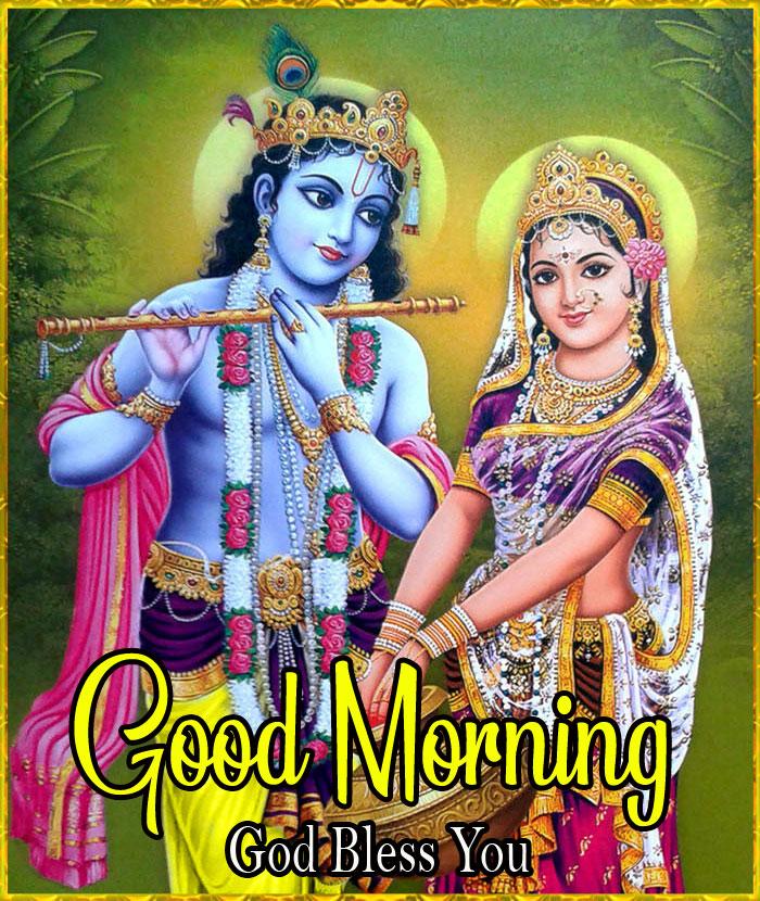 Nice Radha Krishna Good Morning Images pics for whatsapp