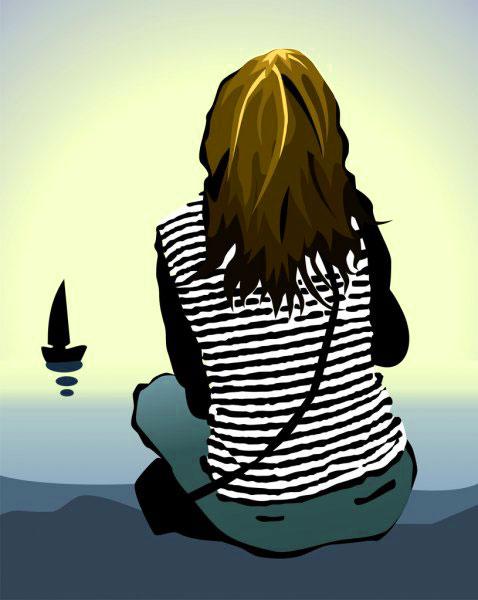 alone girl free Latest Sad Cartoon Dp Images