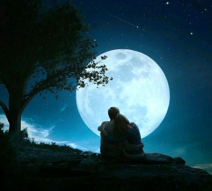 couple with moon Girlfriend Whatsapp Profile Images