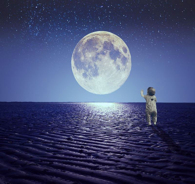 moon with boy Latest Superb Whatsapp Dp Images